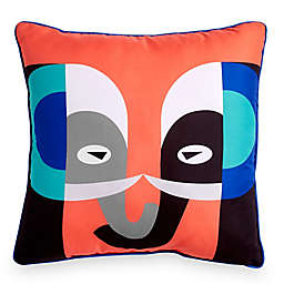 Scribble Elephant 16-Inch Square Throw Pillow in Orange