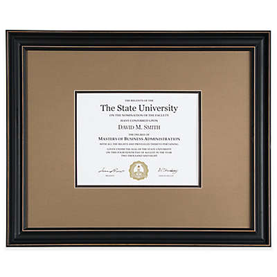 PhotoGuard 8.5-Inch x 11-Inch Document Frame in Black/Brown