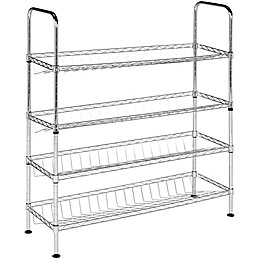 Safavieh Lidia Chrome Wire Adjustable Shoe Rack in Chrome