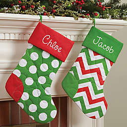 Quilted Cotton 21-Inch Christmas Stockings