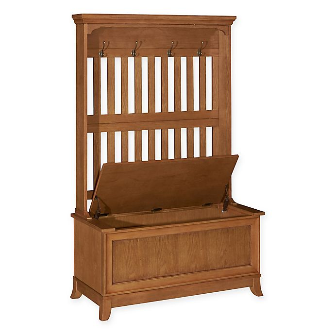 Powell Mission Oak Hall Tree With Storage Bench In Warm
