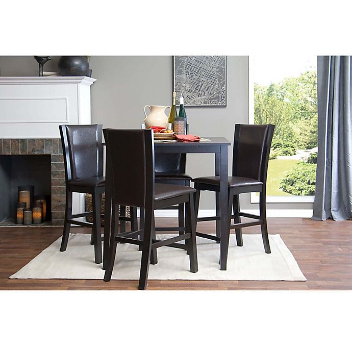 Baxton Studio 5-Piece Wing Counter Dining Set In Brown