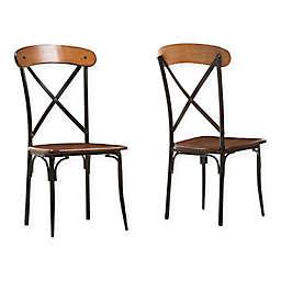 Baxton Studio Broxburn Dining Chairs in Brown (Set of 2)