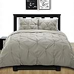 Cotone Pintuck Full/Queen Duvet Cover Set in Grey