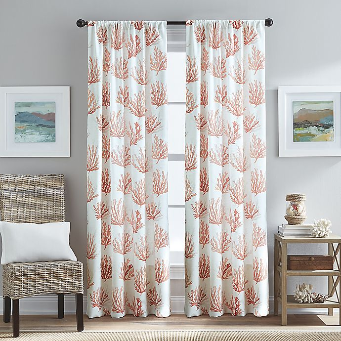 Alternate image 1 for Cocoa 84-Inch Beach Pole Top Window Curtain Panel in Coral