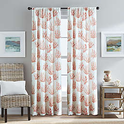 Cocoa Beach Light Filtering Pole Top Window Curtain Panel in Coral
