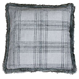 Jasontae Plaid Fur Trim 20-Inch Square Throw Pillow in Silver