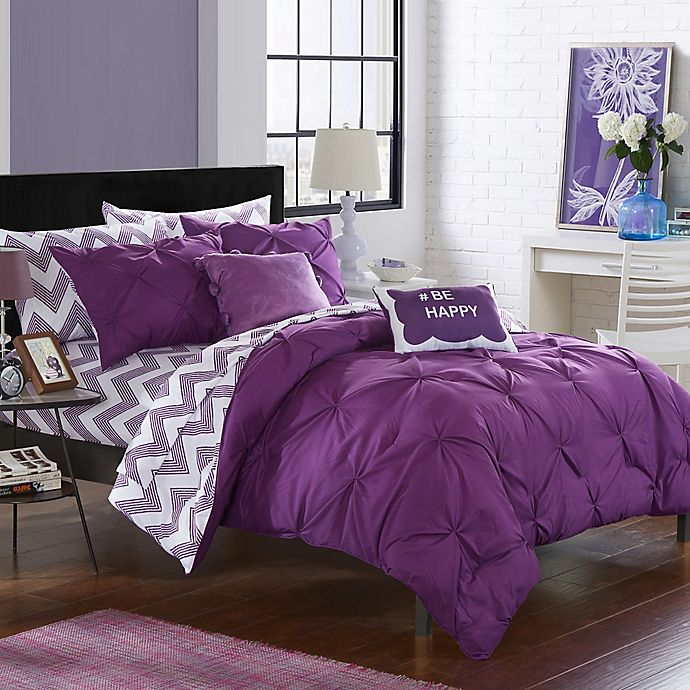 Alternate image 1 for Chic Home Parkerville 7-Piece Twin XL Comforter Set in Purple