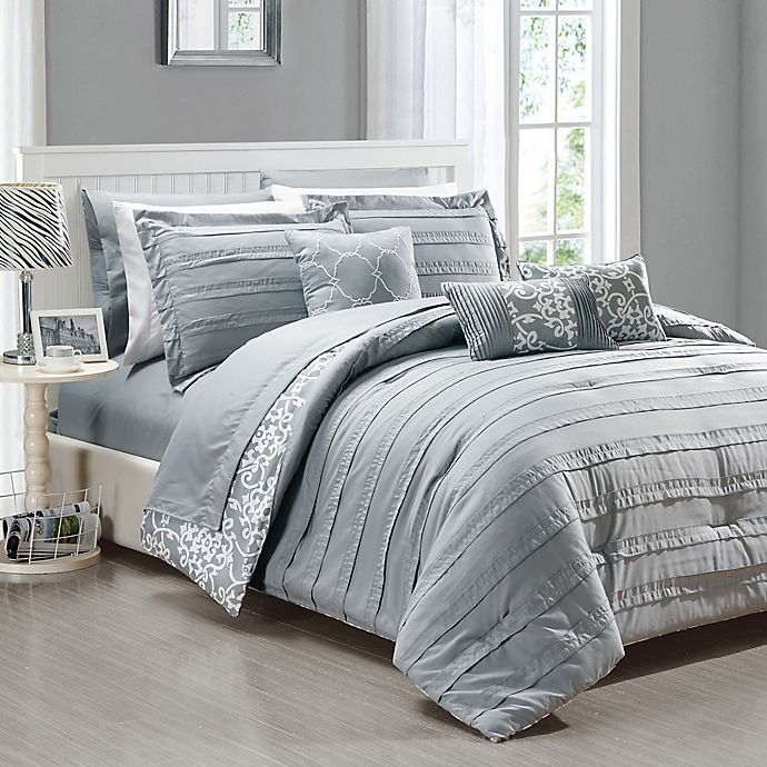 Alternate image 1 for Chic Home Isobelle 10-Piece King Comforter Set in Grey