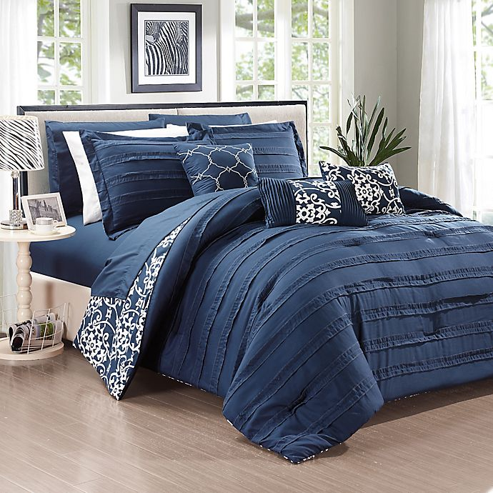 Alternate image 1 for Chic Home Isobelle 10-Piece Queen Comforter Set in Navy