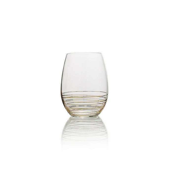 Alternate image 1 for Mikasa® Electric Boulevard Stemless Wine Glasses in Gold (Set of 4)