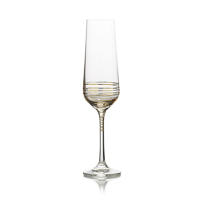 Alternate image 1 for Mikasa® Electric Boulevard Champagne Flutes in Gold (Set of 4)
