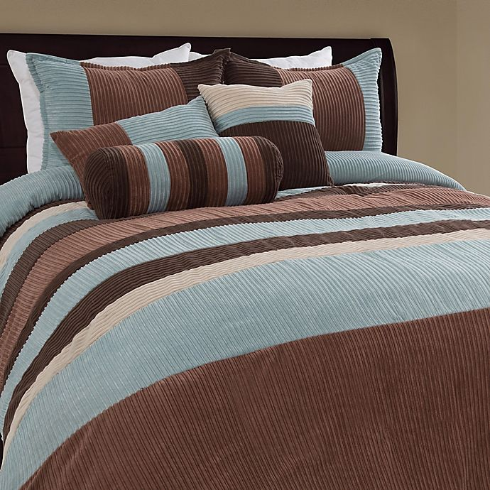 Alternate image 1 for Geo Stripe 7-Piece Queen Comforter Set in Blue