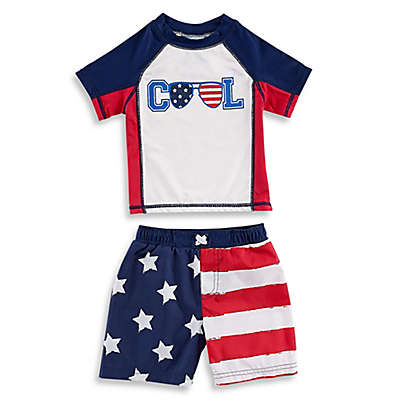 Baby Buns 2-Piece Cool Flag Rashguard Set in Navy/Red