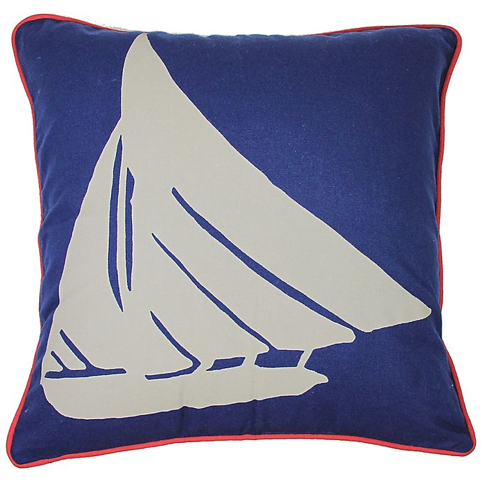 Alternate image 1 for KAS Seneca Boat 18-Inch Square Throw Pillow in Blue