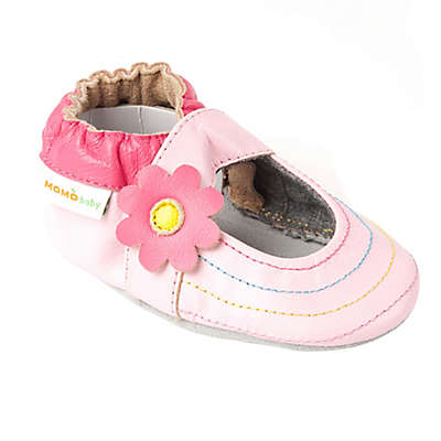 Momo Baby Rainbow Toes Leather Soft Sole Shoe in Pink