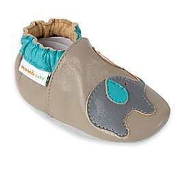 MomoBaby Playful Elephant Leather Soft Sole Shoe in Grey
