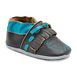 MomoBaby Moccasin Leather Soft Sole Shoe in Grey