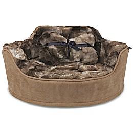 Precious Tails Faux Fur Princess Pet Bed with Plush Bone Pillow