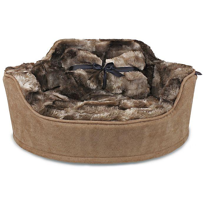 Alternate image 1 for Precious Tails Faux Fur Princess Pet Bed with Plush Bone Pillow
