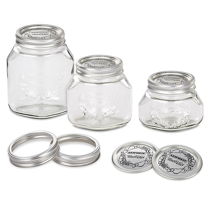 Alternate image 1 for Leifheit Wide Mouth Canning Mason Jars (Set of 6)