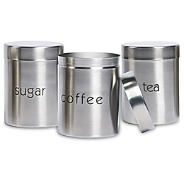 Basic Essentials 3-Piece Stainless Steel Canister Set