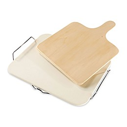 Leifheit Large Square Ceramic Pizza Stone with Carrying Tray and Wooden Spatula in Grey