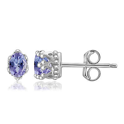Sterling Silver Tanzanite Crown Stud Earrings