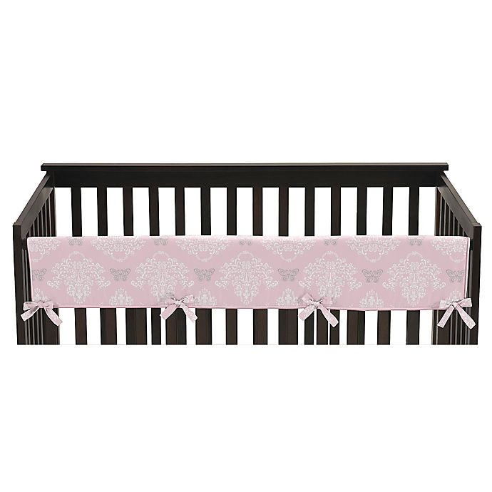 Alternate image 1 for Sweet Jojo Designs Alexa Reversible Long Front Rail Crib Guard Cover in Pink/Grey