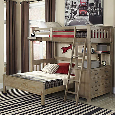 Hillsdale Highland Twin Loft Bed with Full Lower Bed in Driftwood