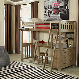 Hillsdale Highland Twin Loft Bed with Desk in Driftwood