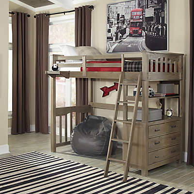 Hillsdale Highland Twin Loft Bed in Driftwood