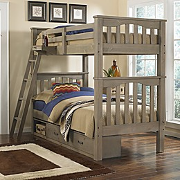 Hillsdale Kids and Teens Highlands Harper Twin Bunk Bed with Storage in Driftwood