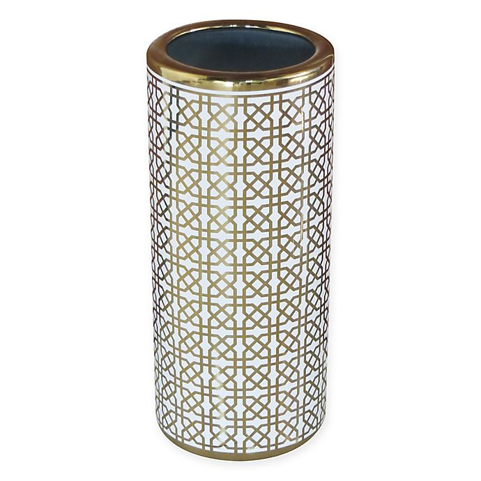 Ceramic Trellis Umbrella Stand In Gold White Bed Bath Beyond