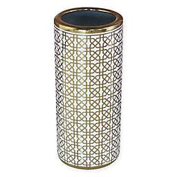 Ceramic Trellis Umbrella Stand in Gold/White