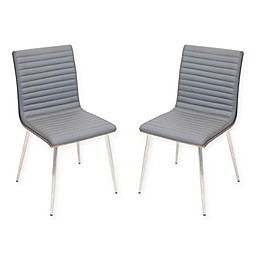 Lumisource Mason Chrome Swivel Chair in Grey (Set of 2)