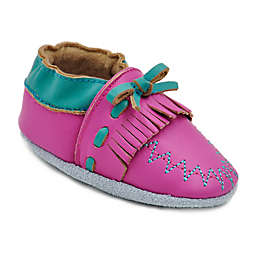 Momo Baby Leather Soft Sole Moccasin in Fuchsia