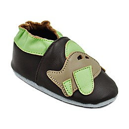 Momo Baby Airplane Leather Soft Sole Shoes in Brown