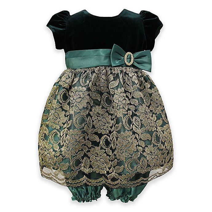 27ecbc6a8 Jayne Copeland 2-Piece Velvet and Lace Dress and Bloomer Set in Green/Gold