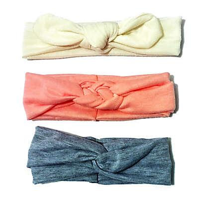 Curls & Pearls 3-Pack Headbands in Cream/Coral/Heather Grey