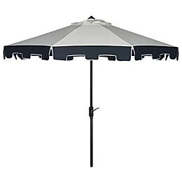 Safavieh UV Resistant City Fashion 9-Foot Umbrella in Beige with Navy Valance