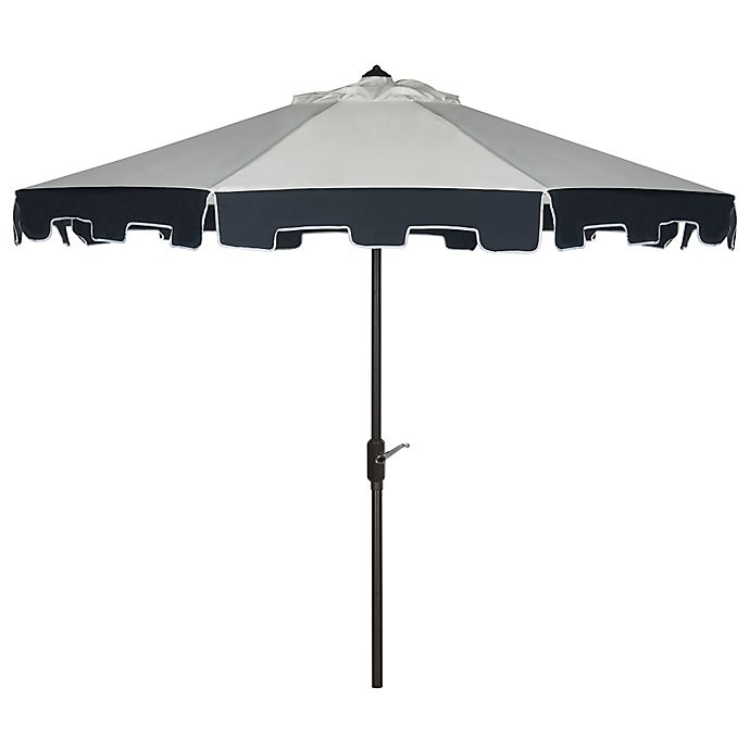 Alternate image 1 for Safavieh UV Resistant City Fashion 9-Foot Umbrella in Beige with Navy Valance