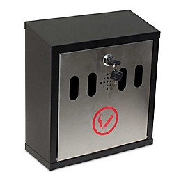 QualArc® Winfield Series Hayward Wall Mount Ash Receptacle in Black/Stainless Steel