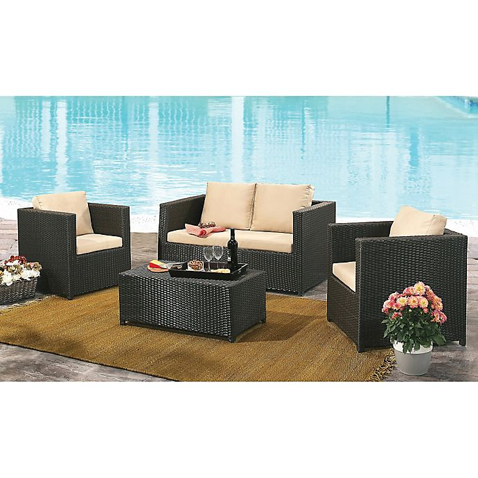 Alternate image 1 for Abbyson Living® Colette 4-Piece Outdoor Wicker Conversation Set in Espresso
