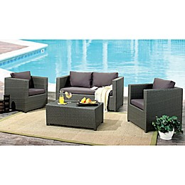 Abbyson Living® Colette 4-Piece Outdoor Wicker Conversation Set in Grey