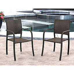 Abbyson Living® Seaton Outdoor Wicker Stackable Club Chairs in Espresso (Set of 2)