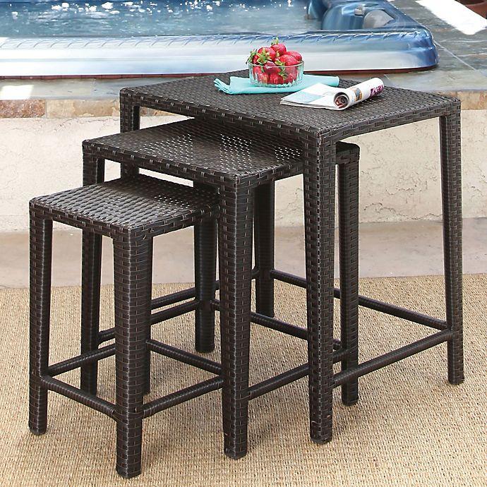 Alternate image 1 for Abbyson Living® Renee 3-Piece Wicker Tea Table Set in Espresso