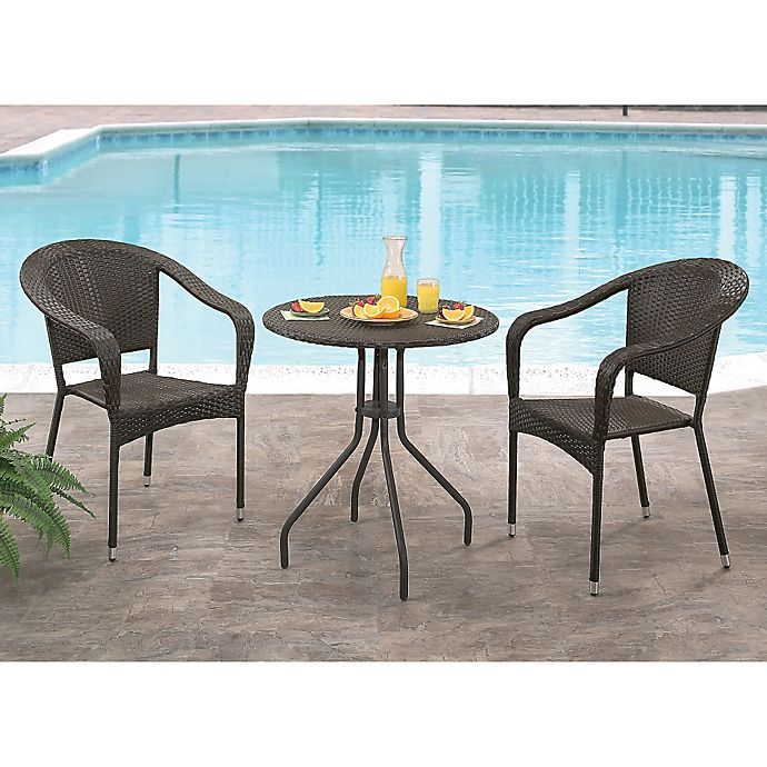 Alternate image 1 for Abbyson Living® Odette 3-Piece Outdoor Bistro Set in Espresso