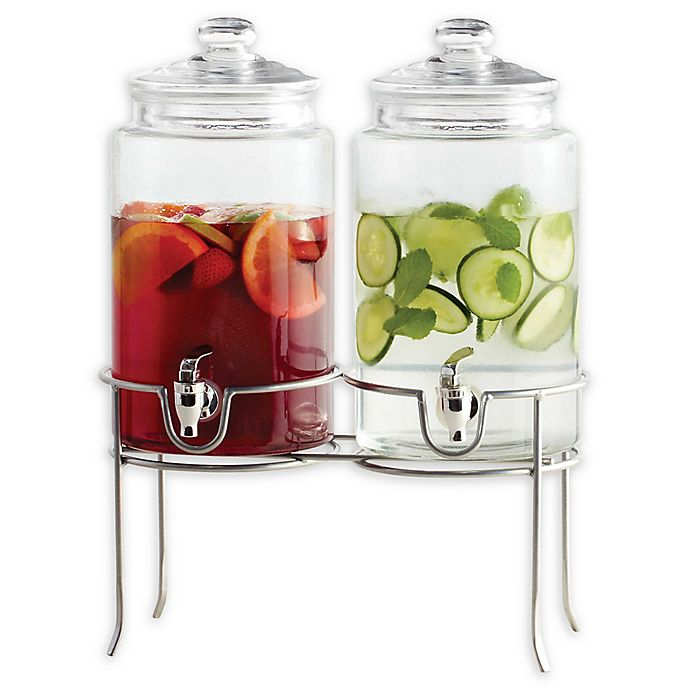Alternate image 1 for Dailyware™ Twin 1-Gallon Beverage Dispenser with Metal Rack