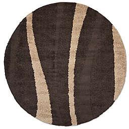 Safavieh Florida Shag Willow  6-Foot 7-Inch Round Area Rug in Dark Brown/Beige